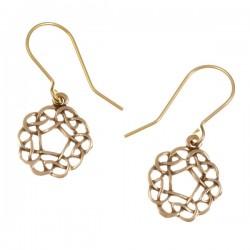 Pentagon knot drop bronzen Oorbellen