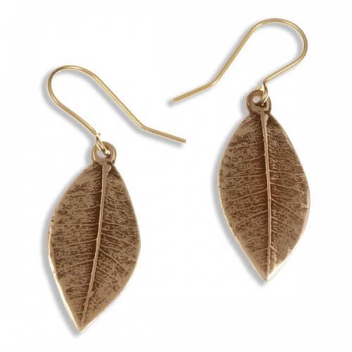 Bronzen oorbellen Puntige blad