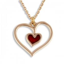 Rood hart bronzen hanger