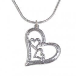Drie harten Zilveren hanger