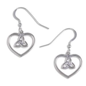 Heart Zilveren Oorbellen met 3 Loop Knot (JSE12)