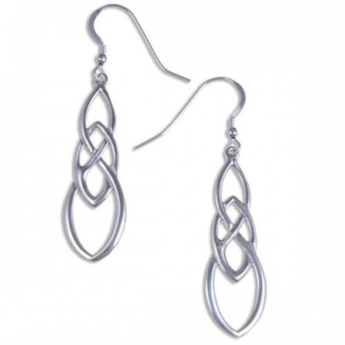 Linked knot Silver earrings