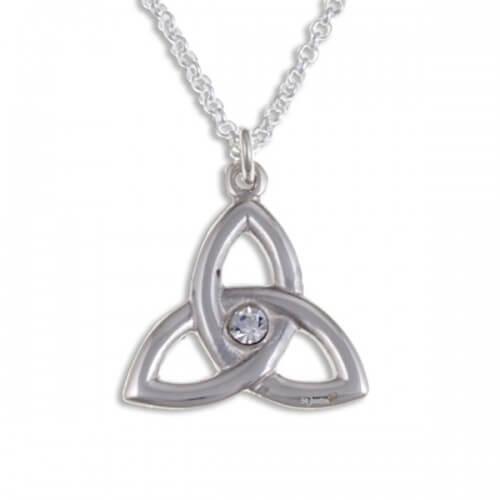 Trefoil Knot Zilveren hanger met Clear Crystals