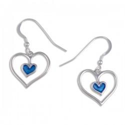 Blue heart Zilveren oorbellen (SE332BG)