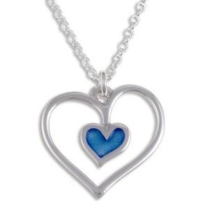 Blue heart Zilveren hanger