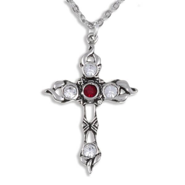 Crystal kruis met Rrobijn rood crystals