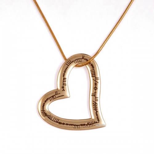 Ogham hart liefde bronzen hanger