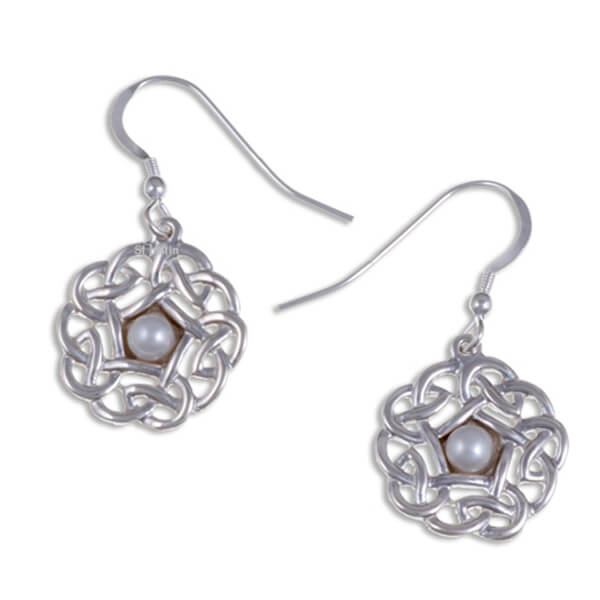 Pearl Pentagon knot zilveren oorbellen