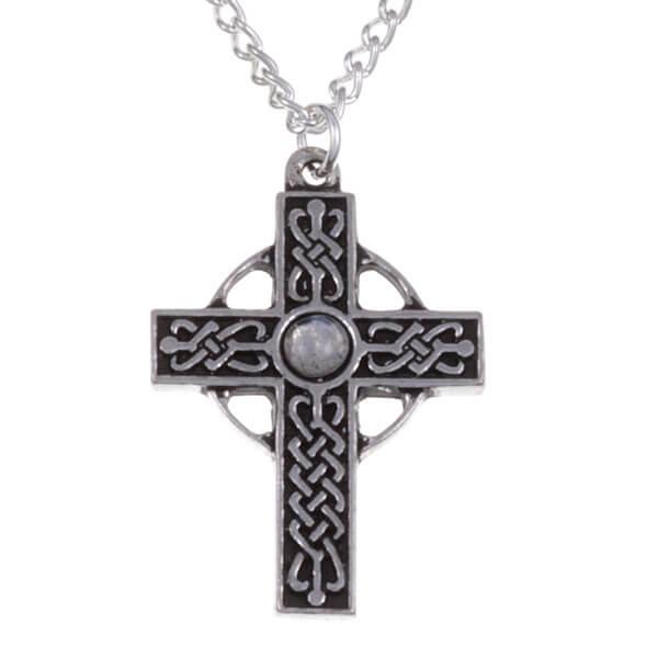 Gevlochten kruis necklet met Regenboog edelsteen
