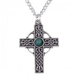 Gevlochten kruis necklet met Turqoise edelsteen