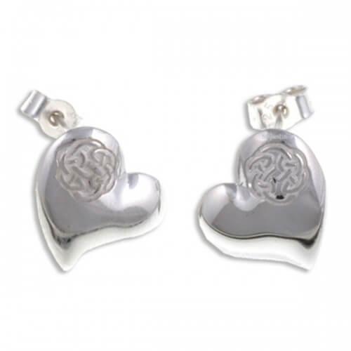 Heart zilveren oorknopjes met knoop Lugh's