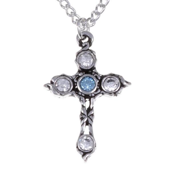 Kristallen kruis ketting met Aquamarine
