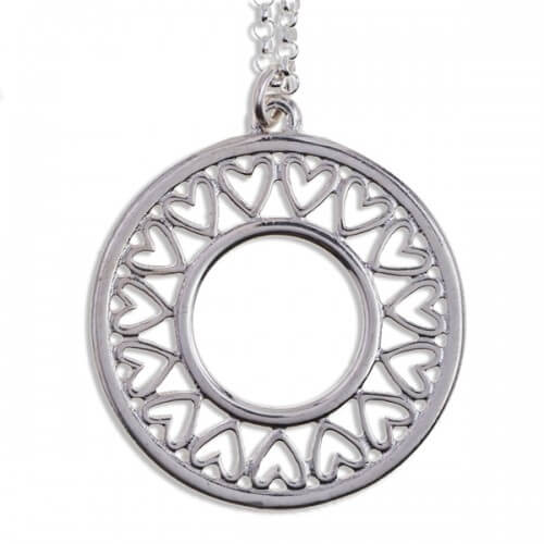Zilveren hanger hart cirkel