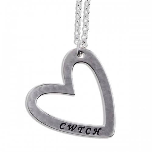 Zilveren hanger Cwtch hart