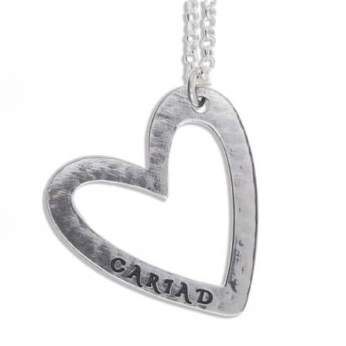 Cariad hart zilveren hanger