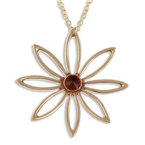 8 bloemblaadje bloem-robijn rood bronzen hanger