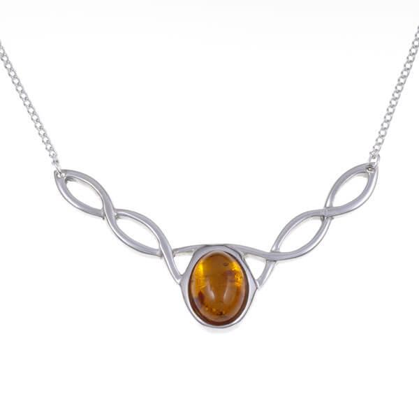 Edelsteen knoop ketting amber/barnsteen