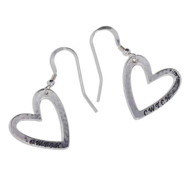 Cwtch hart zilveren oorbellen