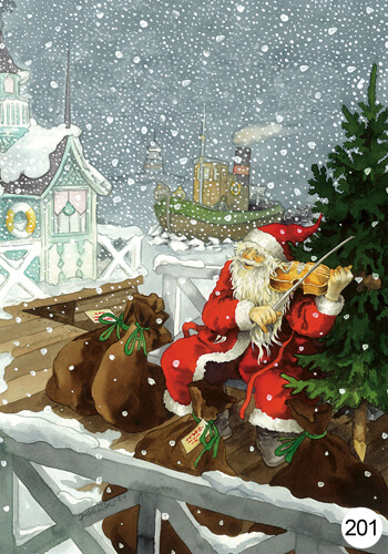 Inge Look Postkaart 201 Santa playing the violin
