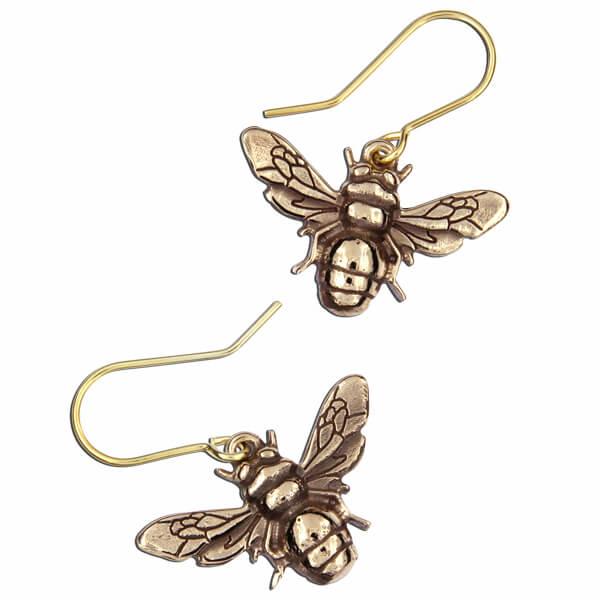 Bijen bronzen oorbellen