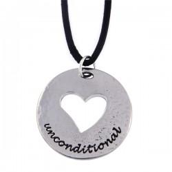 Hanger Unconditional love heart met leren veter.