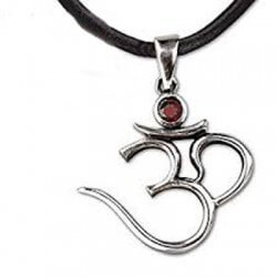 Om silver pendant with zirconia