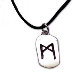 Man rune  silver pendant