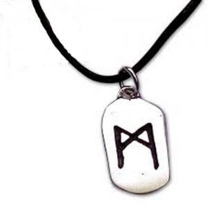Man rune zilveren hanger