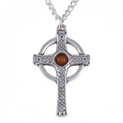 Oude knoop kruis ketting met Amber steen