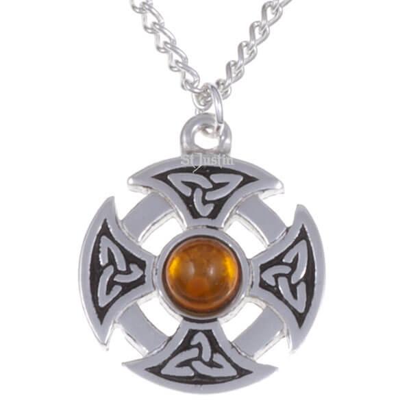 Driehoekige knoop edelsteen kruis ketting met ambar steenq