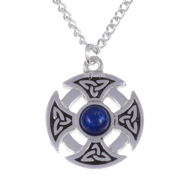 Driehoekige knoop edelsteen kruis ketting met lapis steen