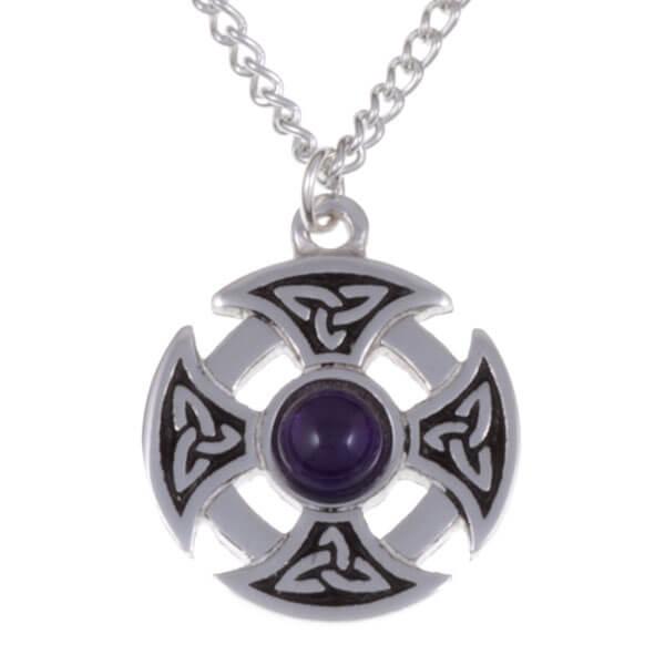 Driehoekige knoop edelsteen kruis ketting met Amethyst steen