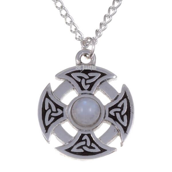 Driehoekige knoop edelsteen kruis ketting met Regenboog maansteen