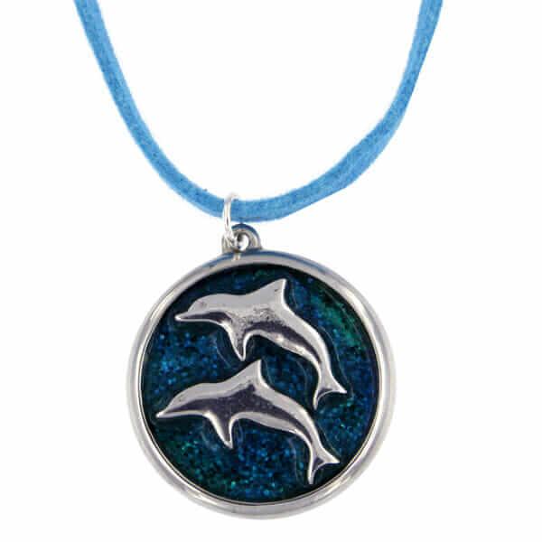 Springend dolfijnen emaille hanger