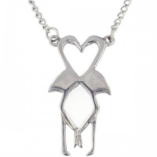 Flamingo hart ketting