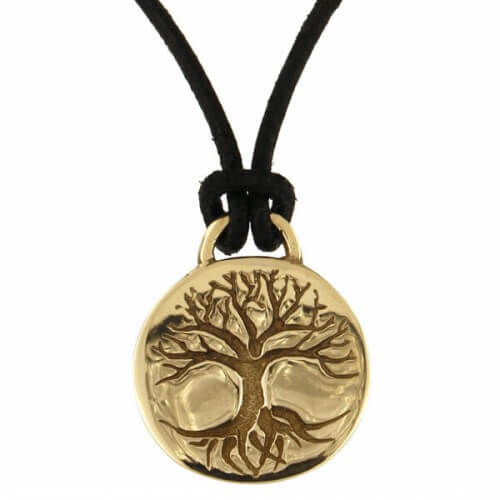 Tree of life disc bronzen hanger
