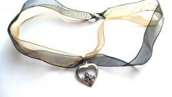 Brandende heart zilveren hanger met lint
