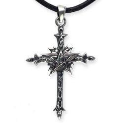Heilige Pentagram Kruis zilveren hanger