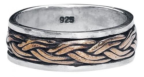 Keltische knoop 925 zilveren ring met brons ivr156-