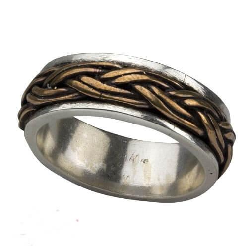 Keltische knoop 925 zilveren ring met brons