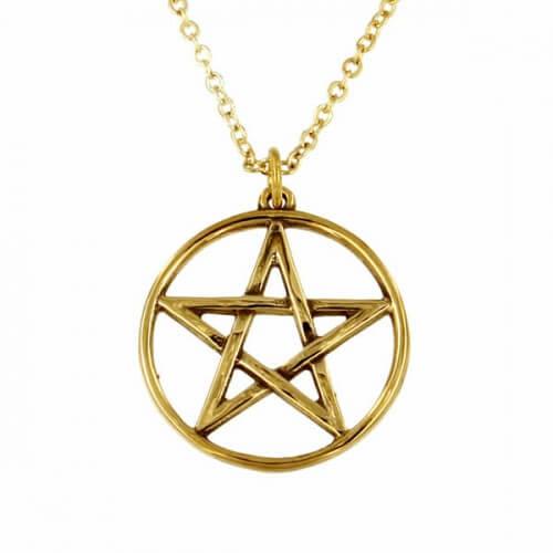 .Bronzen pentagram cirkel hanger