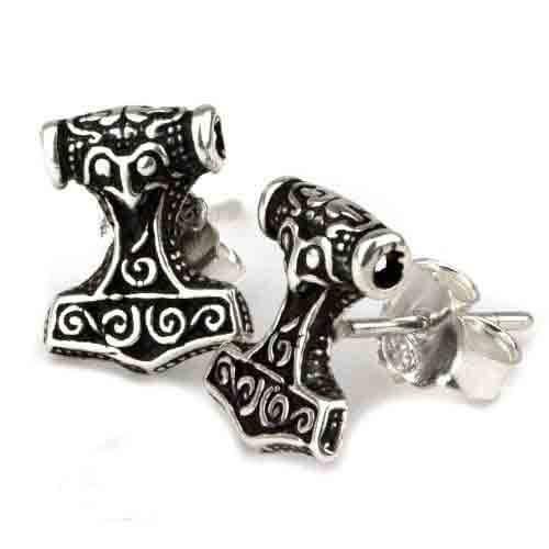 Thor´s Hammer zilveren oorknopjes