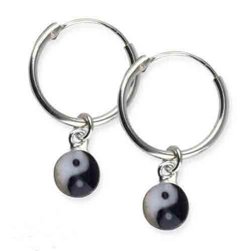 zilveren oorbellen Yin Yang