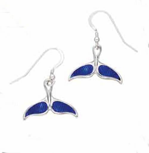 Walvisstaart geëmailleerde zilveren oorbellen