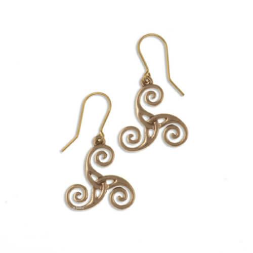 Triscele bronzen oorbellent