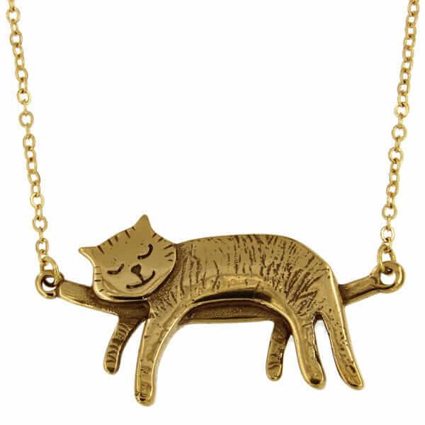 Bronzen slapende kat ketting