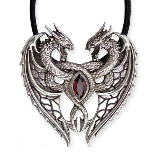 Draken hart zilveren hanger