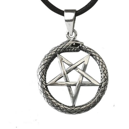 Slang Pentagram zilveren hanger