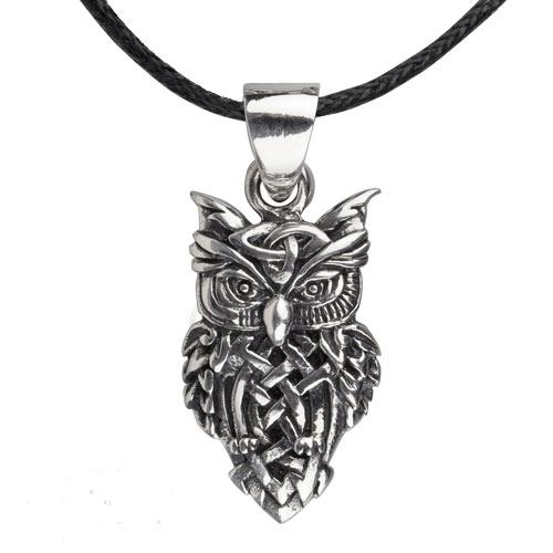 Zilveren Keltische uil hanger