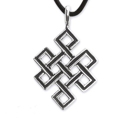 Zilveren hanger Tibetaanse knoop